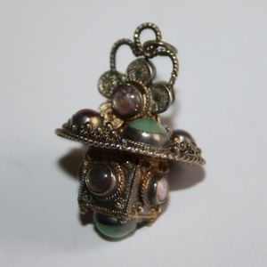 Beautiful chakra stone silver pendant